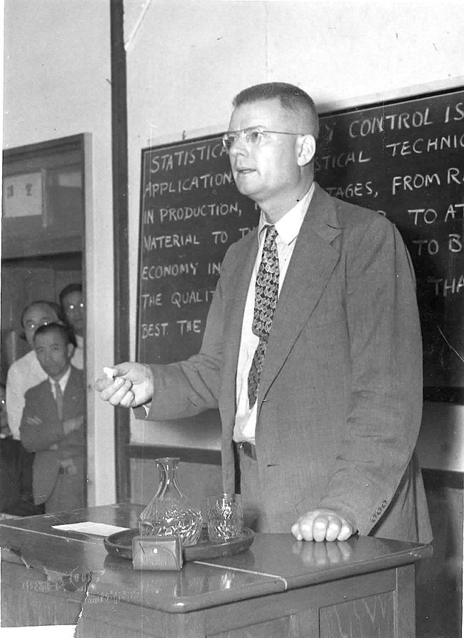 Deming giving lecture in Japan, 1951