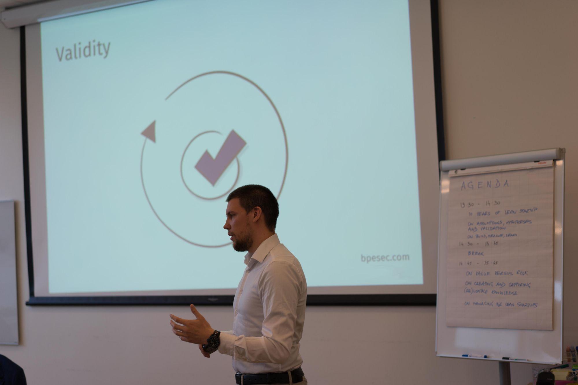 Bruno Pesec presenting at Miles Camp