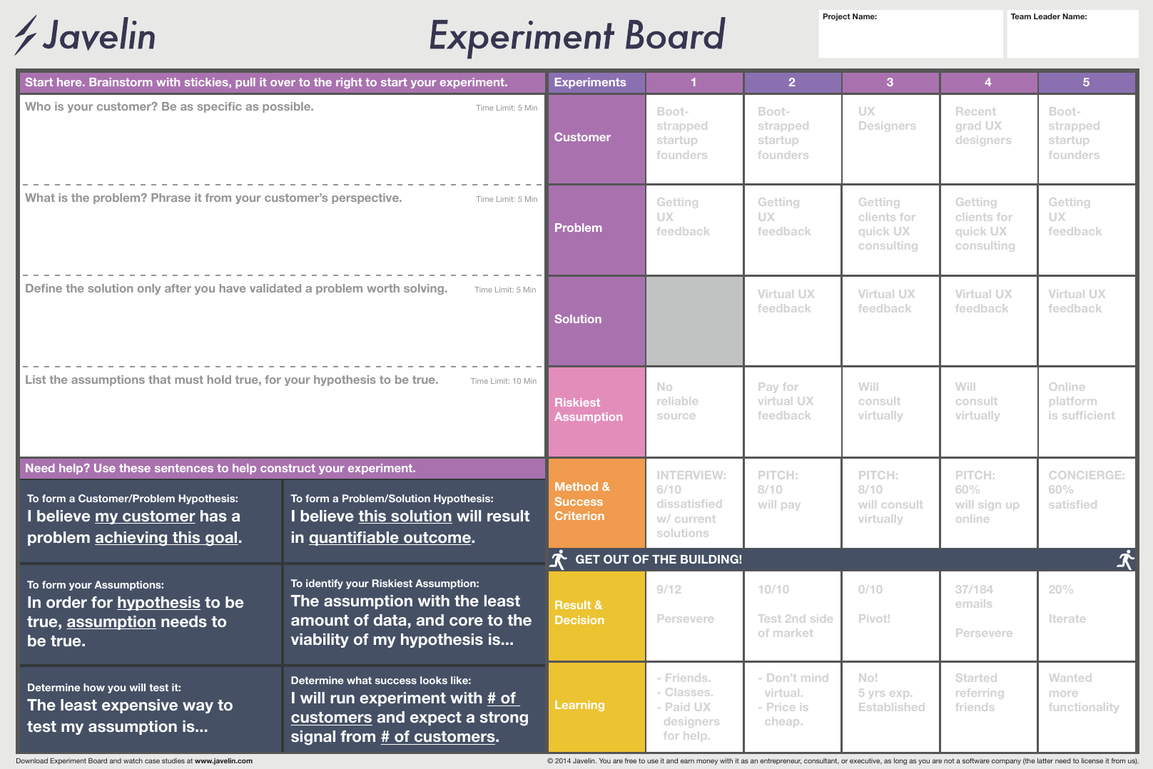Javelin Experiment Board by Trevor Owens and Grace Ng