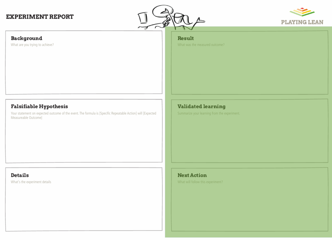 Playing Lean Experiment Report - Capture the learning from the experiment