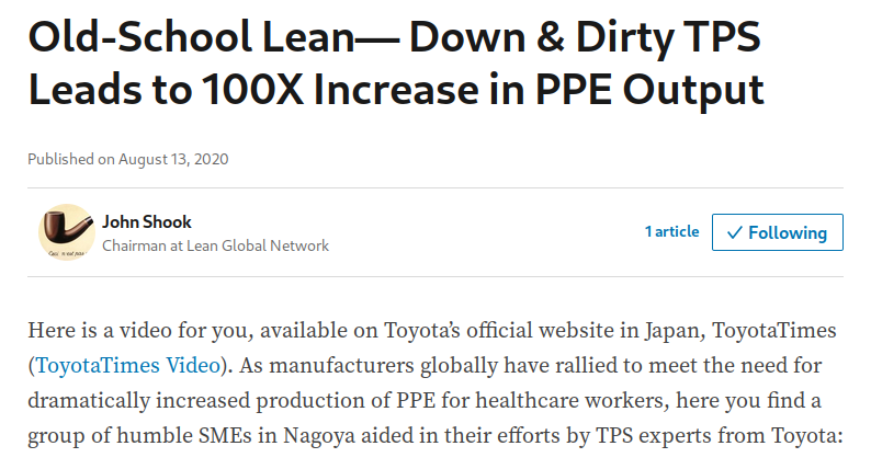 Old-School Lean— Down & Dirty TPS Leads to 100X Increase in PPE Output